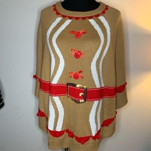 Ugly Christmas Sweater Gingerbread Poncho